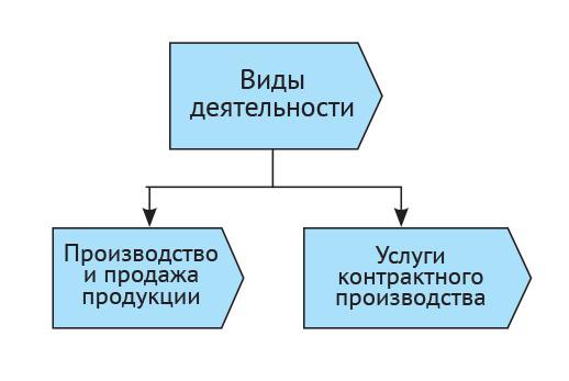 Виды деятельности производственной компании